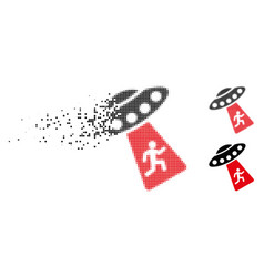 Dust pixelated halftone human abduction ufo icon vector