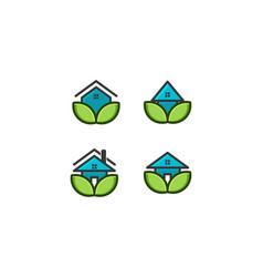eco house home care logo designs inspiration vector image
