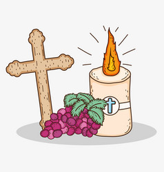 First communion with cross and candle with grapes vector