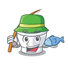 Fishing mortar mascot cartoon style vector
