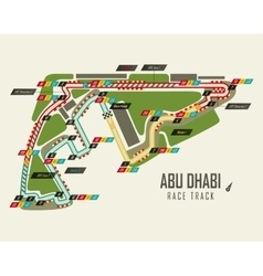 Formula one racing track in abu dhabi top view vector