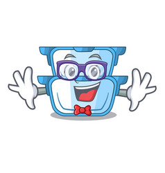 Geek double boiler character for the steaming food vector