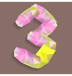 Geometric crystal digit 3 vector image