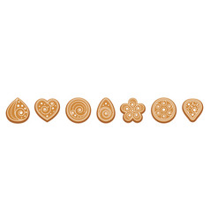 Ginger bread cookies set biscuits with white vector