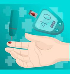 glucose meter take blood finger concept background vector image