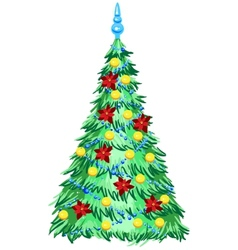 Green Christmas tree with ornaments vector image