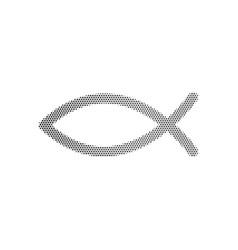 halftone dotted christian symbol jesus fish icon vector image