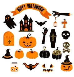 Halloween clipart set Spooky pumpkin icons vector image