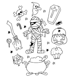 Halloween mummy doodle art vector image