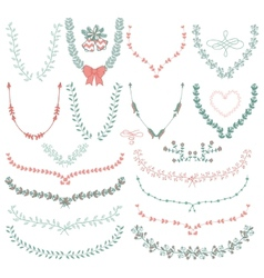 Hand-Drawn Floral Wreaths Laurels vector