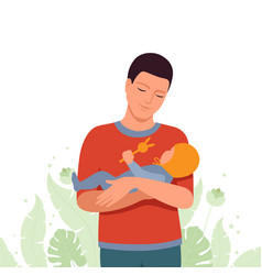 happy dad holding a small child vector image