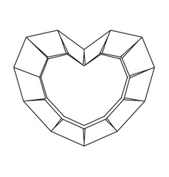 Heart-shaped gemstone icon in outline style vector