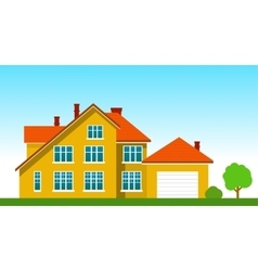 House with a garage on the grass vector