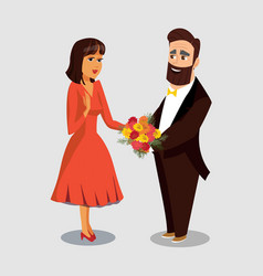 Husband giving flowers to wife drawing vector