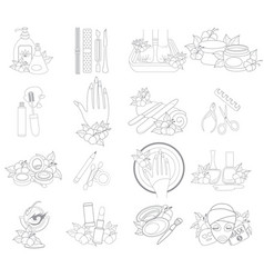 icons beauty shop pedicure manicure nail service vector image