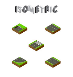 Isometric way set of downward road single-lane vector