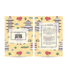 Japan traveling banners set in linear style vector