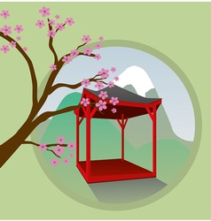 Japanese garden house vector