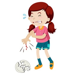 Little girl cut her finger vector image