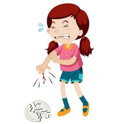 Little girl cut her finger vector