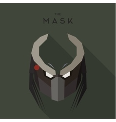 Mask evil alien robot stranger villain with horns vector