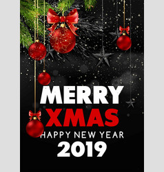 merry christmas and happy new year 2019 black vector image