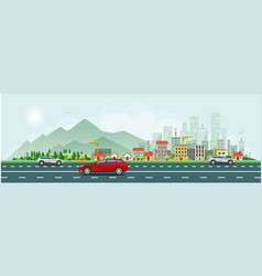 Modern life and urban traffic banner vector