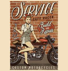 Motorcycle repair service vintage poster vector