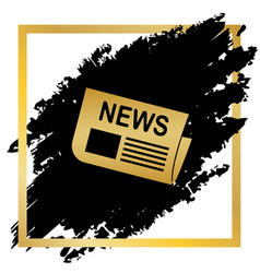 Newspaper sign golden icon at black spot vector