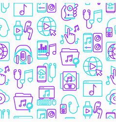 online music seamless pattern with thin line icons vector image