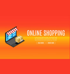 online shopping sale discount isometric laptop vector image