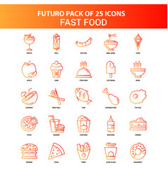 orange futuro 25 fast food icon set vector image