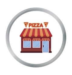Pizzeria icon in cartoon style isolated on white vector