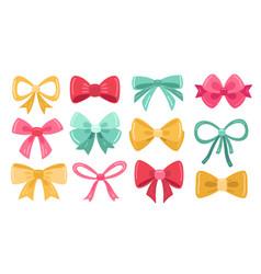 present bow set wedding kit gold color retro vector image