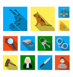 prison and the criminalflat icons in set vector image