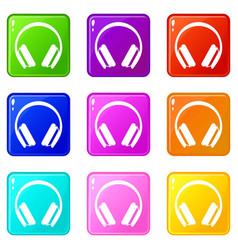 Protective headphones icons 9 set vector