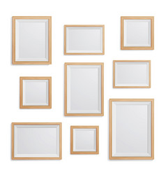 realistic photo frame set collection of vector image