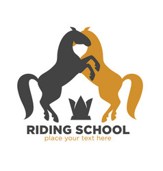 Riding school logotype with black and brown horses vector