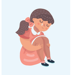 Sad girl cartoon sitting alone vector