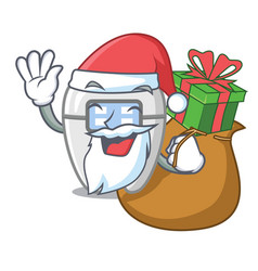 Santa with gift toys braces in mascot box vector