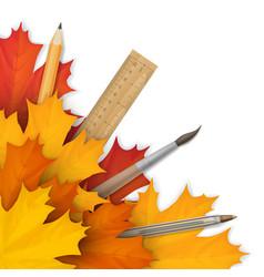school accessories in autumn foliage vector image