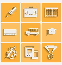 school theme icons set vector image