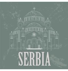 Serbia landmarks Retro styled image vector image