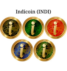 Set of physical golden coin indicoin indi vector