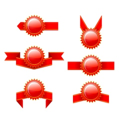 Set of red labels vector
