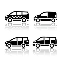 Set transport icons - cargo van vector