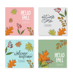 set trendy abstract square banner templates vector image