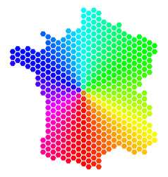 Spectrum hexagon france map vector