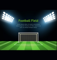 spotlights and football field card poster vector image