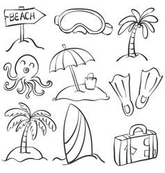 Summer object doodles vector